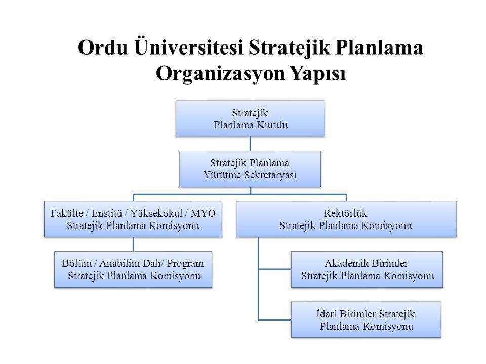 Ordu Üniversitesi Stratejik Planlama Organizasyon Yapısı
