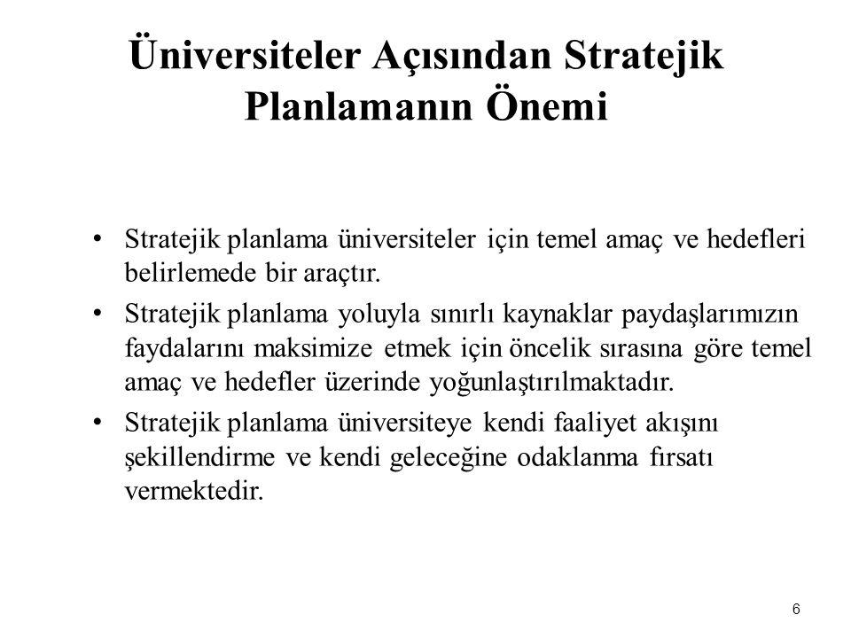 Üniversiteler Açısından Stratejik Planlamanın Önemi