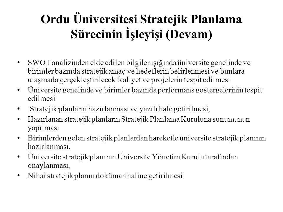 Ordu Üniversitesi Stratejik Planlama Sürecinin İşleyişi (Devam)