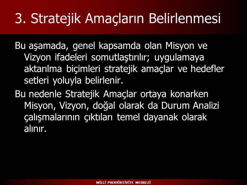 3. Stratejik Amaçların Belirlenmesi