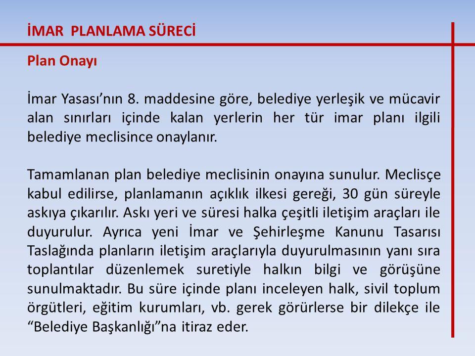 İMAR PLANLAMA SÜRECİ Plan Onayı.