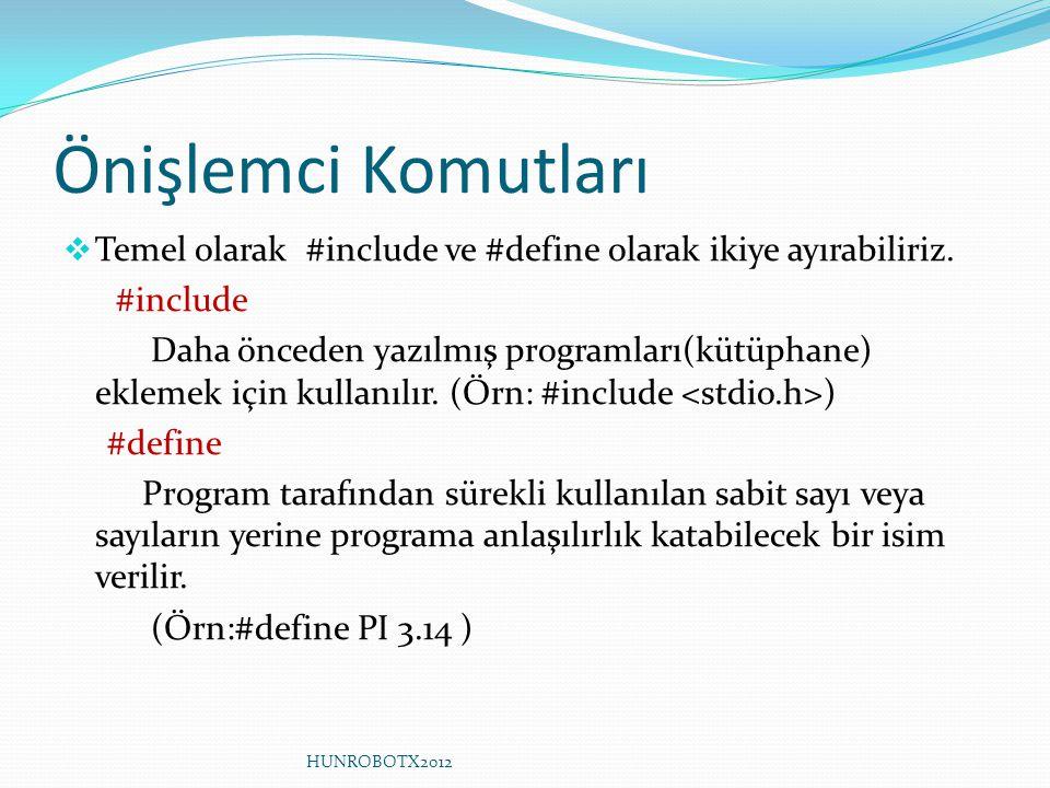 Önişlemci Komutları Temel olarak #include ve #define olarak ikiye ayırabiliriz. #include.
