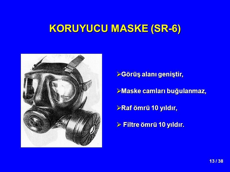 KORUYUCU MASKE (SR-6) Görüş alanı geniştir, Maske camları buğulanmaz,