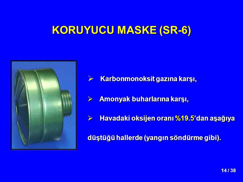 KORUYUCU MASKE (SR-6) Karbonmonoksit gazına karşı,