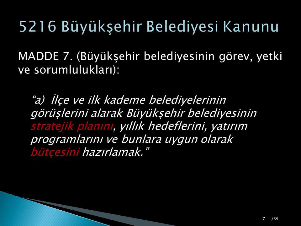 5216 Büyükşehir Belediyesi Kanunu
