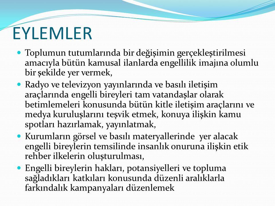 EYLEMLER Toplumun tutumlarında bir değişimin gerçekleştirilmesi amacıyla bütün kamusal ilanlarda engellilik imajına olumlu bir şekilde yer vermek,