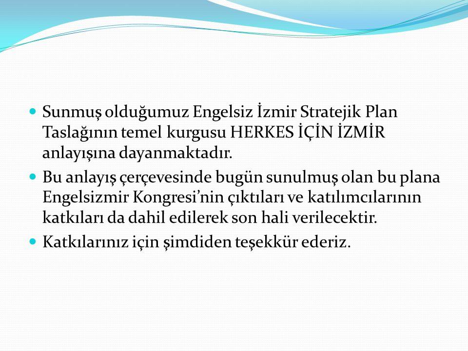 Sunmuş olduğumuz Engelsiz İzmir Stratejik Plan Taslağının temel kurgusu HERKES İÇİN İZMİR anlayışına dayanmaktadır.