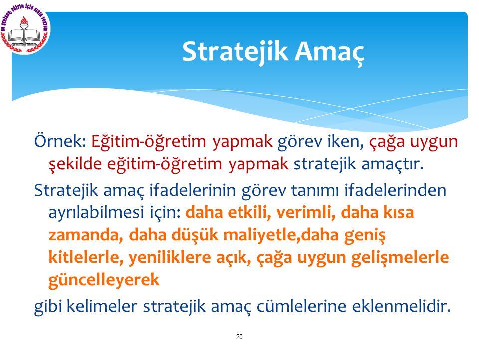 Stratejik Amaç Örnek: Eğitim-öğretim yapmak görev iken, çağa uygun şekilde eğitim-öğretim yapmak stratejik amaçtır.