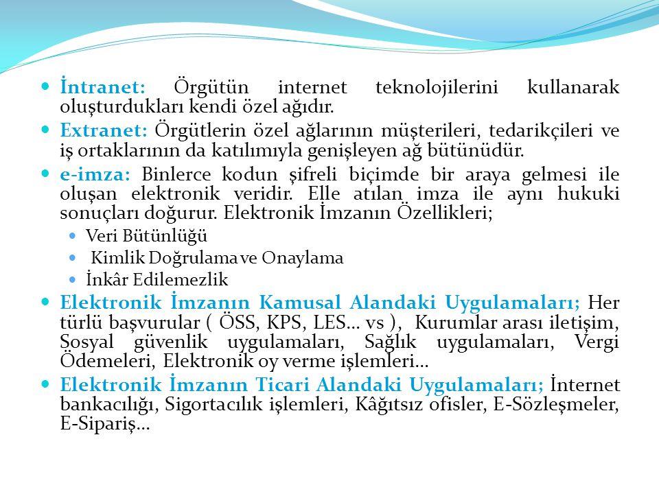 İntranet: Örgütün internet teknolojilerini kullanarak oluşturdukları kendi özel ağıdır.