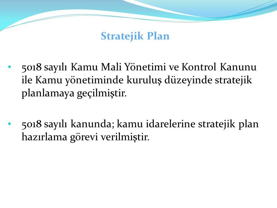 Stratejik Plan 5018 sayılı Kamu Mali Yönetimi ve Kontrol Kanunu ile Kamu yönetiminde kuruluş düzeyinde stratejik planlamaya geçilmiştir.