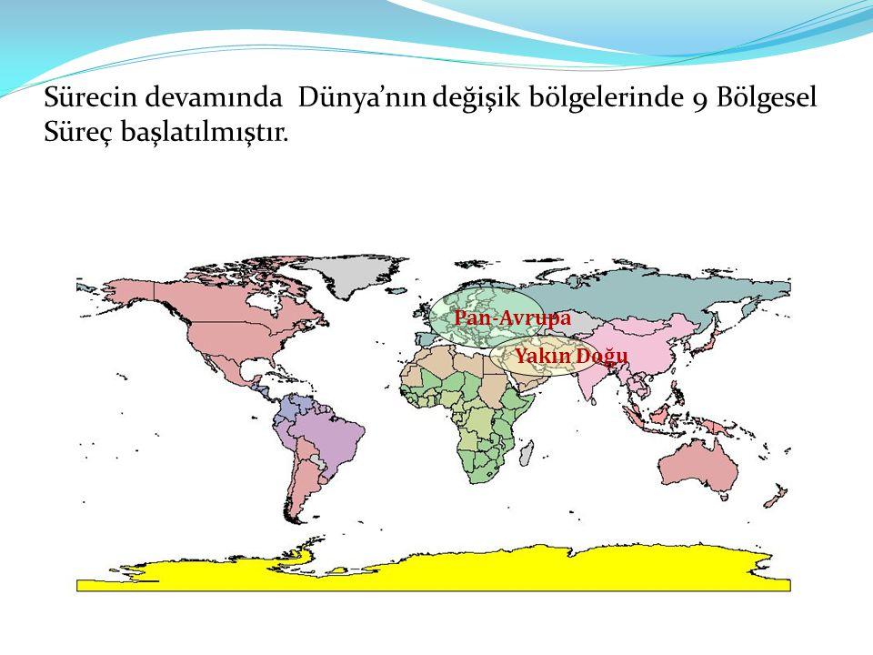 Sürecin devamında Dünya'nın değişik bölgelerinde 9 Bölgesel Süreç başlatılmıştır.