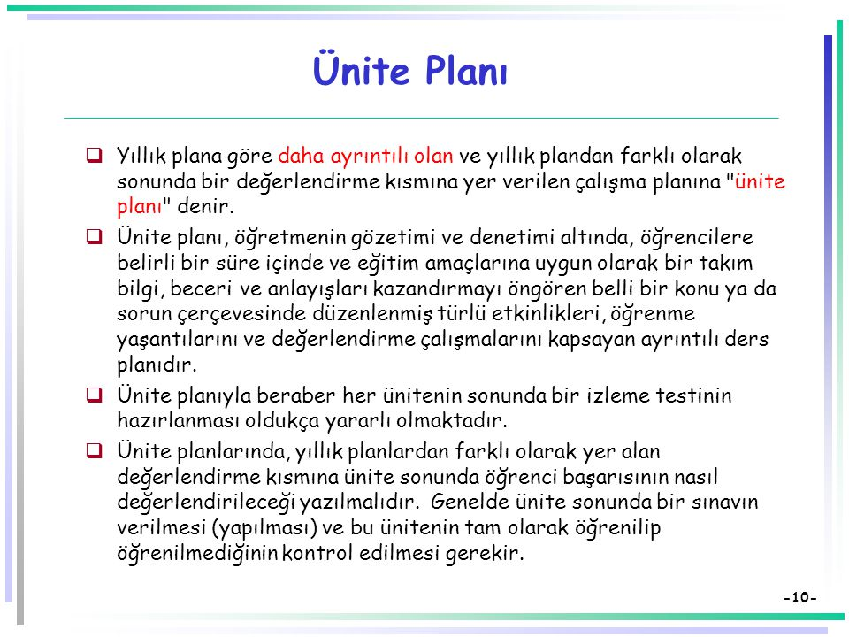 Ünite Planı