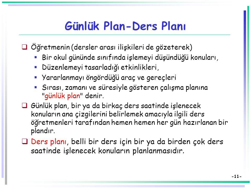 Günlük Plan-Ders Planı