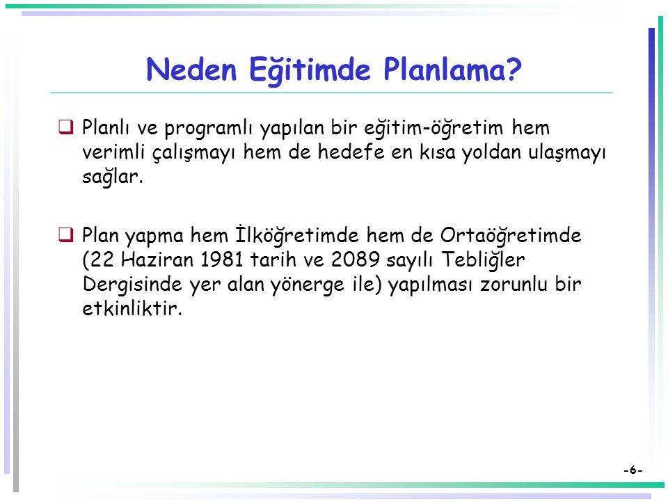 Neden Eğitimde Planlama