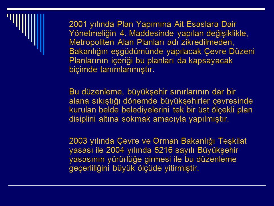 2001 yılında Plan Yapımına Ait Esaslara Dair Yönetmeliğin 4
