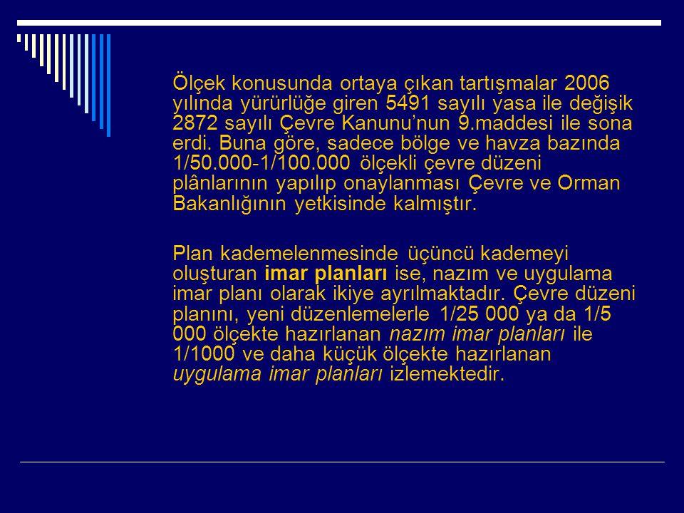 Ölçek konusunda ortaya çıkan tartışmalar 2006 yılında yürürlüğe giren 5491 sayılı yasa ile değişik 2872 sayılı Çevre Kanunu'nun 9.maddesi ile sona erdi. Buna göre, sadece bölge ve havza bazında 1/50.000-1/100.000 ölçekli çevre düzeni plânlarının yapılıp onaylanması Çevre ve Orman Bakanlığının yetkisinde kalmıştır.