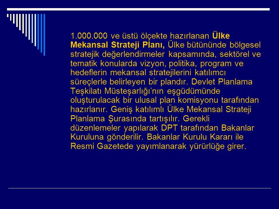 1.000.000 ve üstü ölçekte hazırlanan Ülke Mekansal Strateji Planı, Ülke bütününde bölgesel stratejik değerlendirmeler kapsamında, sektörel ve tematik konularda vizyon, politika, program ve hedeflerin mekansal stratejilerini katılımcı süreçlerle belirleyen bir plandır.