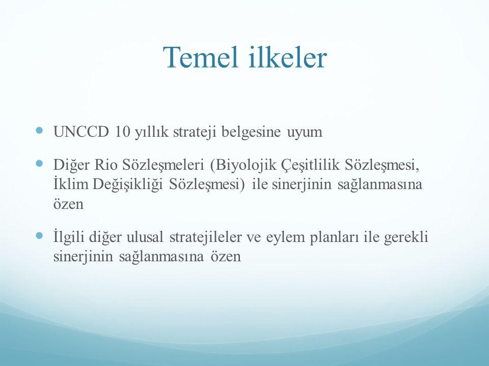 Temel ilkeler UNCCD 10 yıllık strateji belgesine uyum