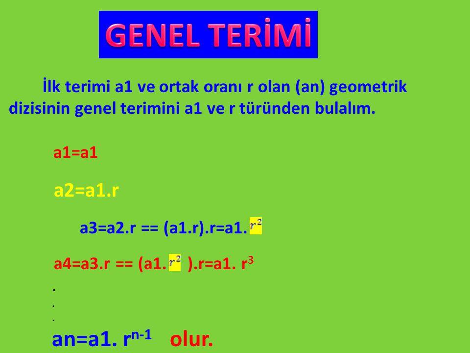 GENEL TERİMİ dizisinin genel terimini a1 ve r türünden bulalım.