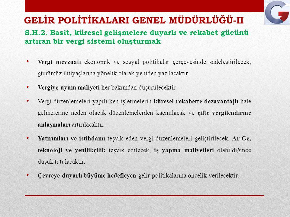 GELİR POLİTİKALARI GENEL MÜDÜRLÜĞÜ-II