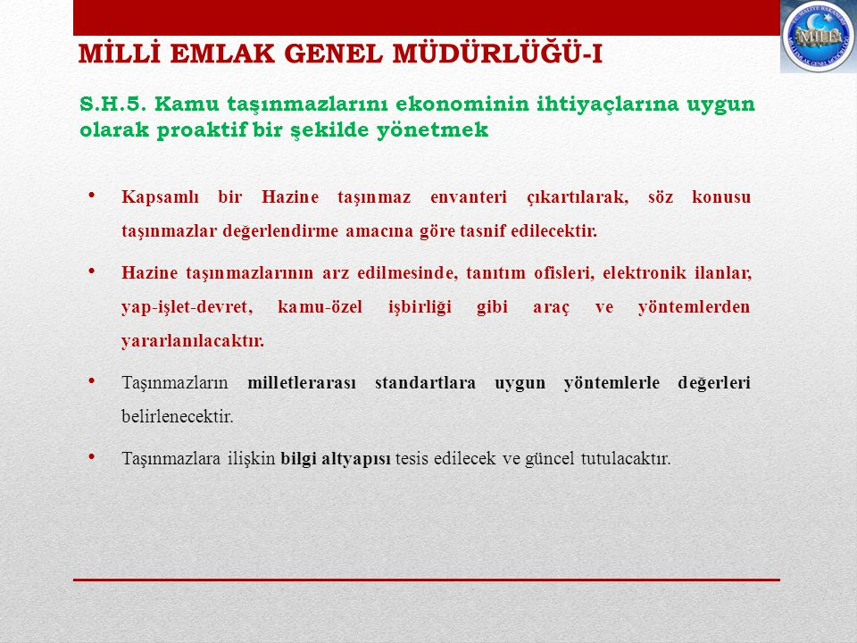 MİLLİ EMLAK GENEL MÜDÜRLÜĞÜ-I