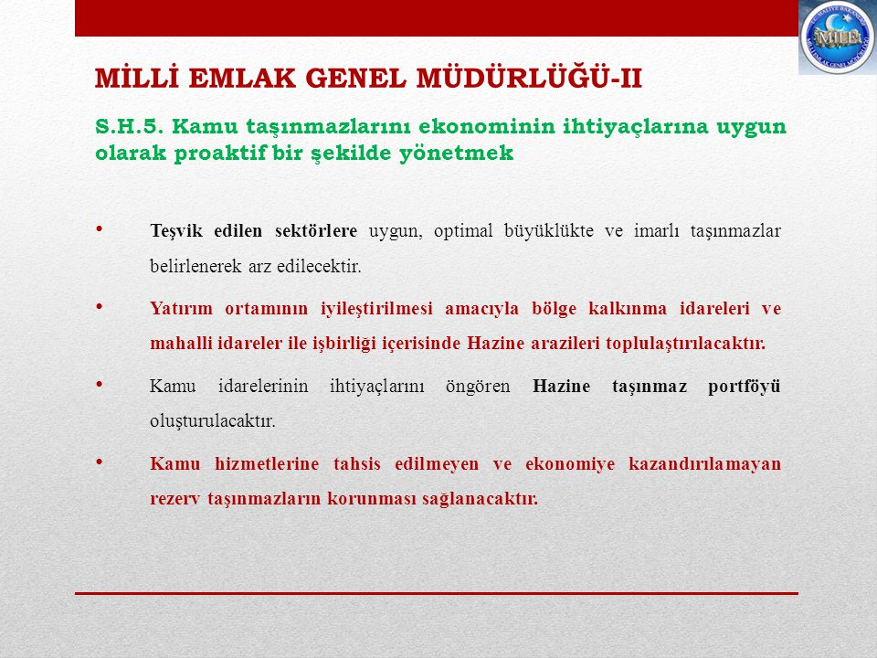 MİLLİ EMLAK GENEL MÜDÜRLÜĞÜ-II