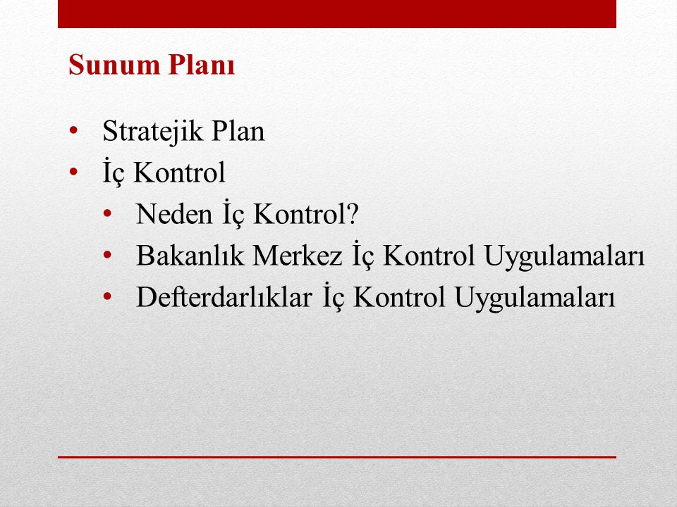 Sunum Planı Stratejik Plan. İç Kontrol. Neden İç Kontrol Bakanlık Merkez İç Kontrol Uygulamaları.