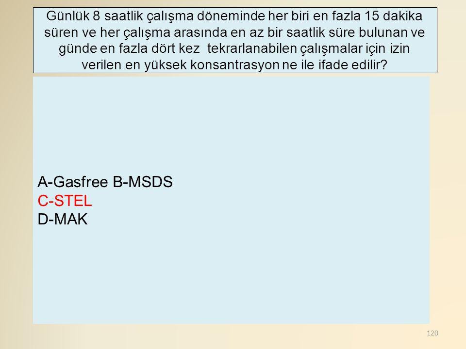 A-Gasfree B-MSDS C-STEL D-MAK