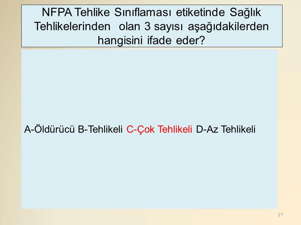 NFPA Tehlike Sınıflaması etiketinde Sağlık Tehlikelerinden olan 3 sayısı aşağıdakilerden hangisini ifade eder