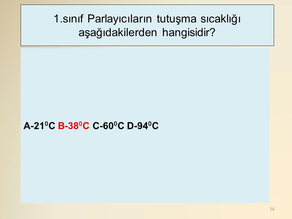 1.sınıf Parlayıcıların tutuşma sıcaklığı aşağıdakilerden hangisidir