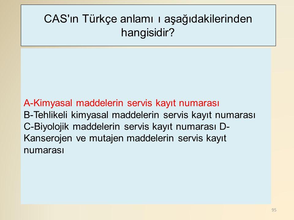 CAS ın Türkçe anlamı ı aşağıdakilerinden hangisidir