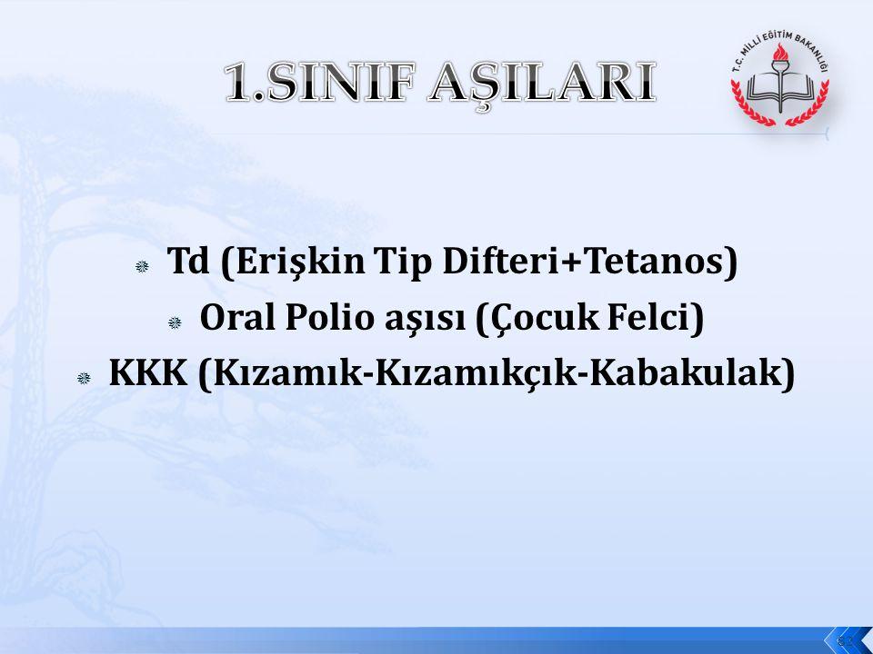 1.SINIF AŞILARI Td (Erişkin Tip Difteri+Tetanos)