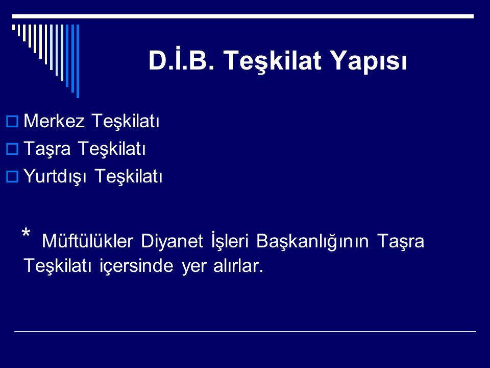 D.İ.B. Teşkilat Yapısı Merkez Teşkilatı Taşra Teşkilatı