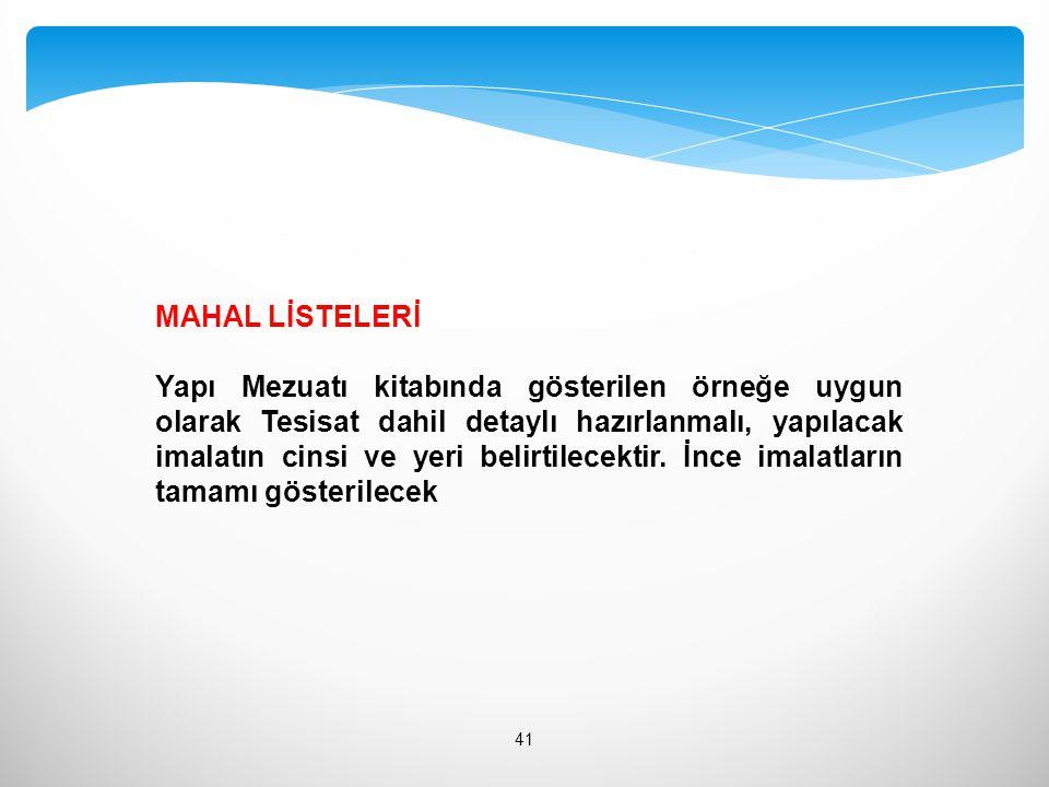 MAHAL LİSTELERİ