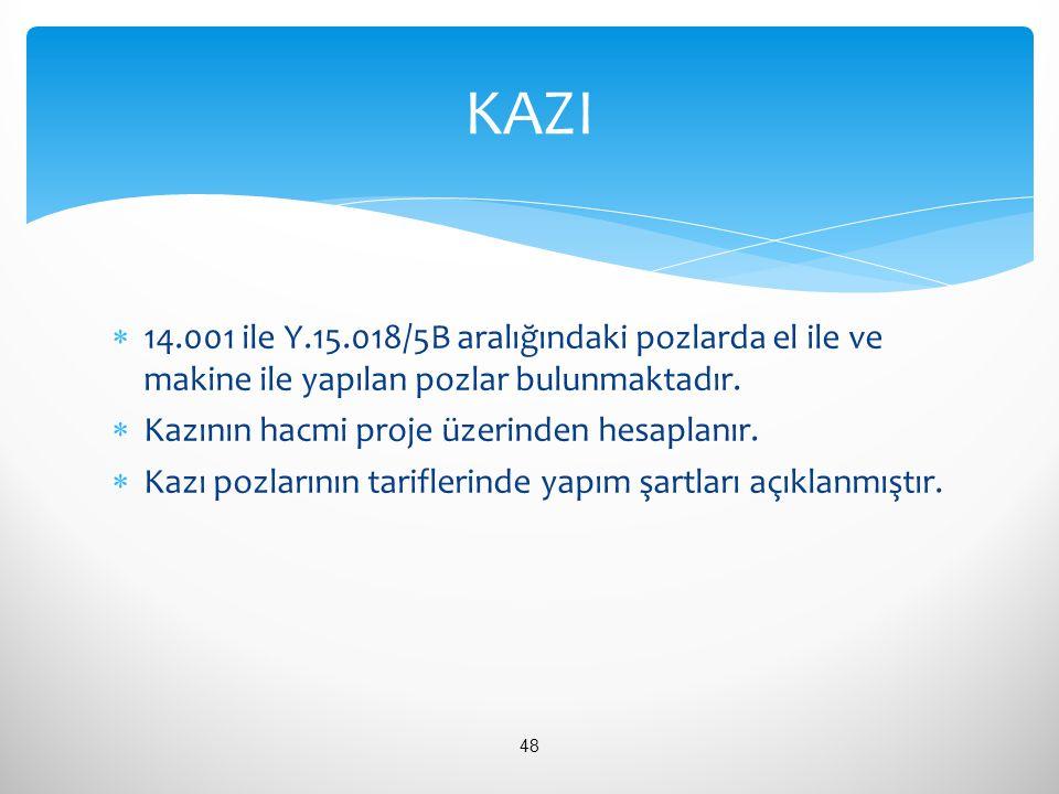 KAZI 14.001 ile Y.15.018/5B aralığındaki pozlarda el ile ve makine ile yapılan pozlar bulunmaktadır.