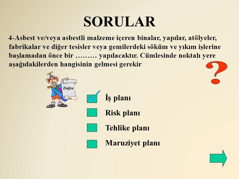 SORULAR İş planı Risk planı Tehlike planı Maruziyet planı