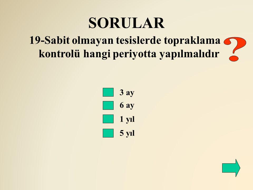 SORULAR 19-Sabit olmayan tesislerde topraklama kontrolü hangi periyotta yapılmalıdır. 3 ay. 6 ay.