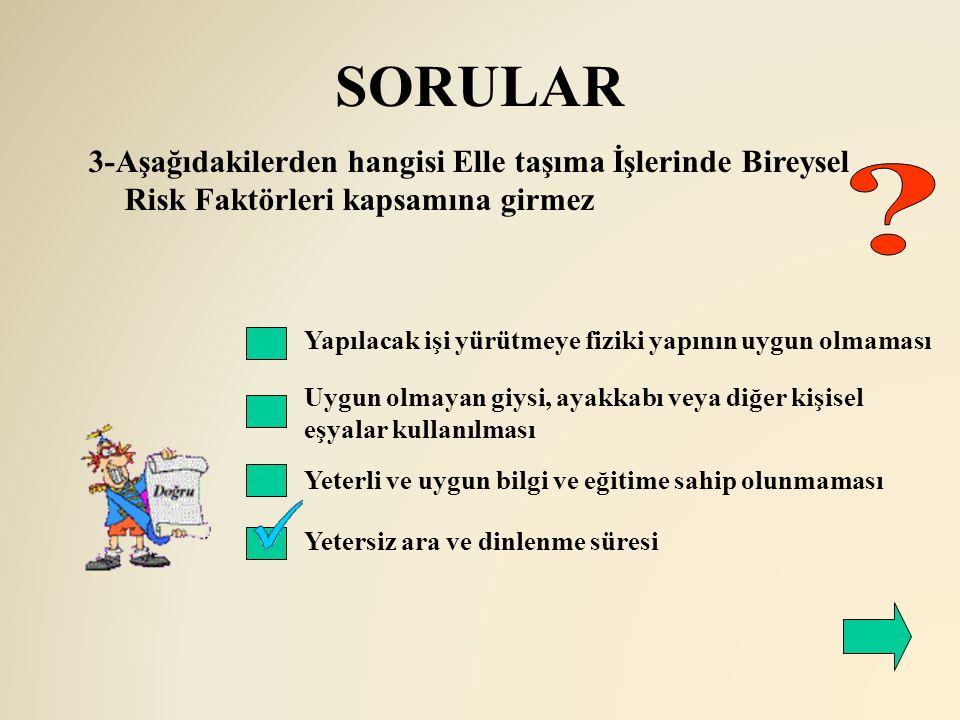 SORULAR 3-Aşağıdakilerden hangisi Elle taşıma İşlerinde Bireysel Risk Faktörleri kapsamına girmez.