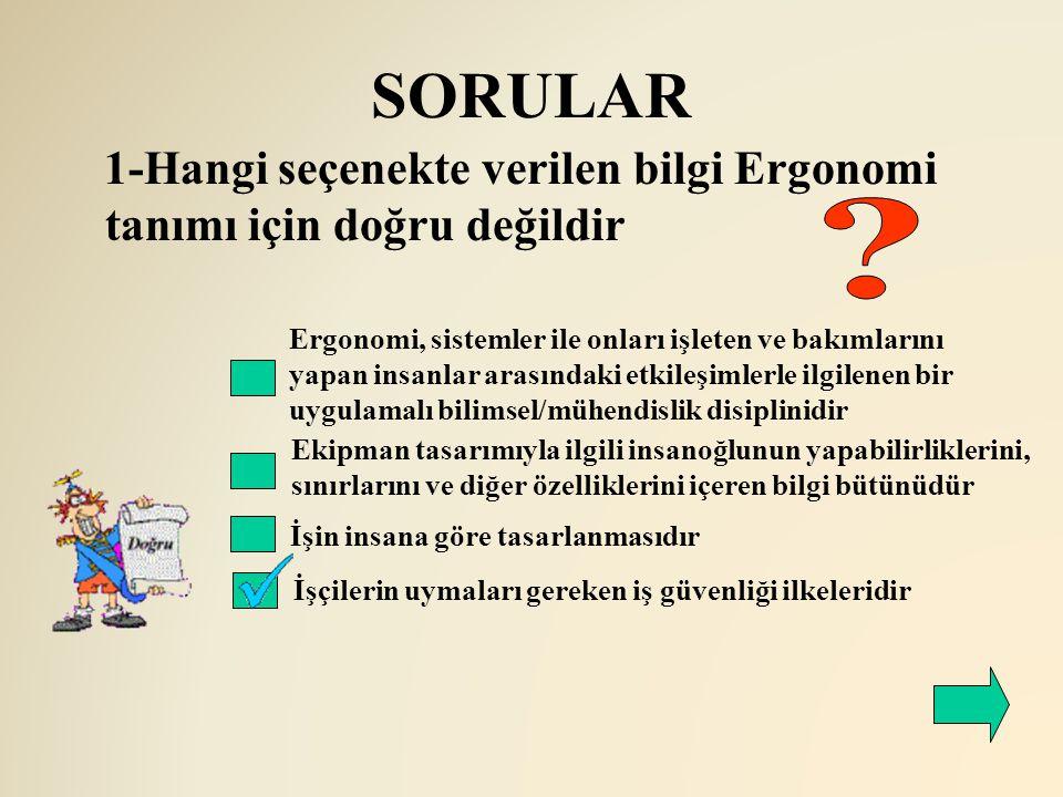 SORULAR 1-Hangi seçenekte verilen bilgi Ergonomi tanımı için doğru değildir.