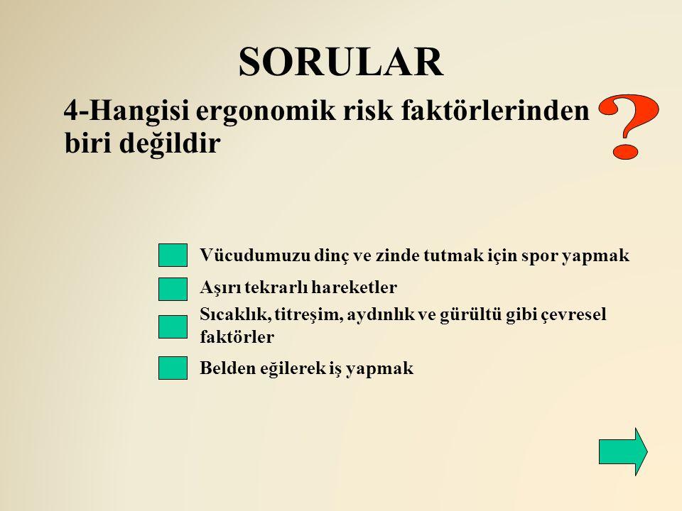 SORULAR 4-Hangisi ergonomik risk faktörlerinden biri değildir