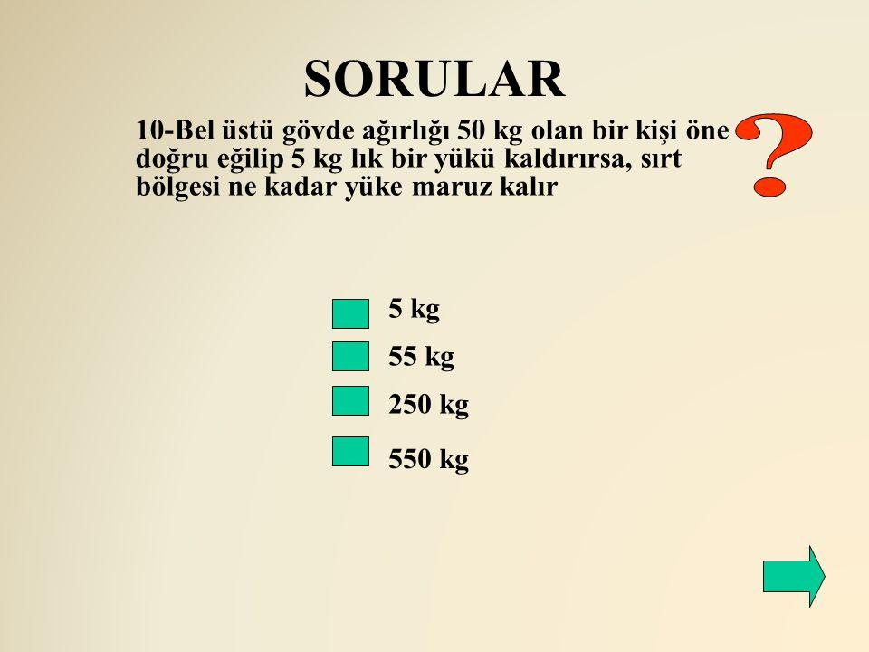 SORULAR 10-Bel üstü gövde ağırlığı 50 kg olan bir kişi öne doğru eğilip 5 kg lık bir yükü kaldırırsa, sırt bölgesi ne kadar yüke maruz kalır.