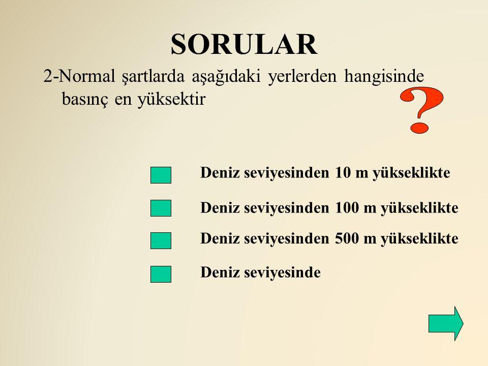 SORULAR 2-Normal şartlarda aşağıdaki yerlerden hangisinde basınç en yüksektir. Deniz seviyesinden 10 m yükseklikte.