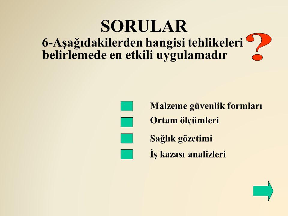 SORULAR 6-Aşağıdakilerden hangisi tehlikeleri belirlemede en etkili uygulamadır. Malzeme güvenlik formları.
