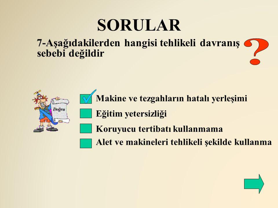 SORULAR 7-Aşağıdakilerden hangisi tehlikeli davranış sebebi değildir