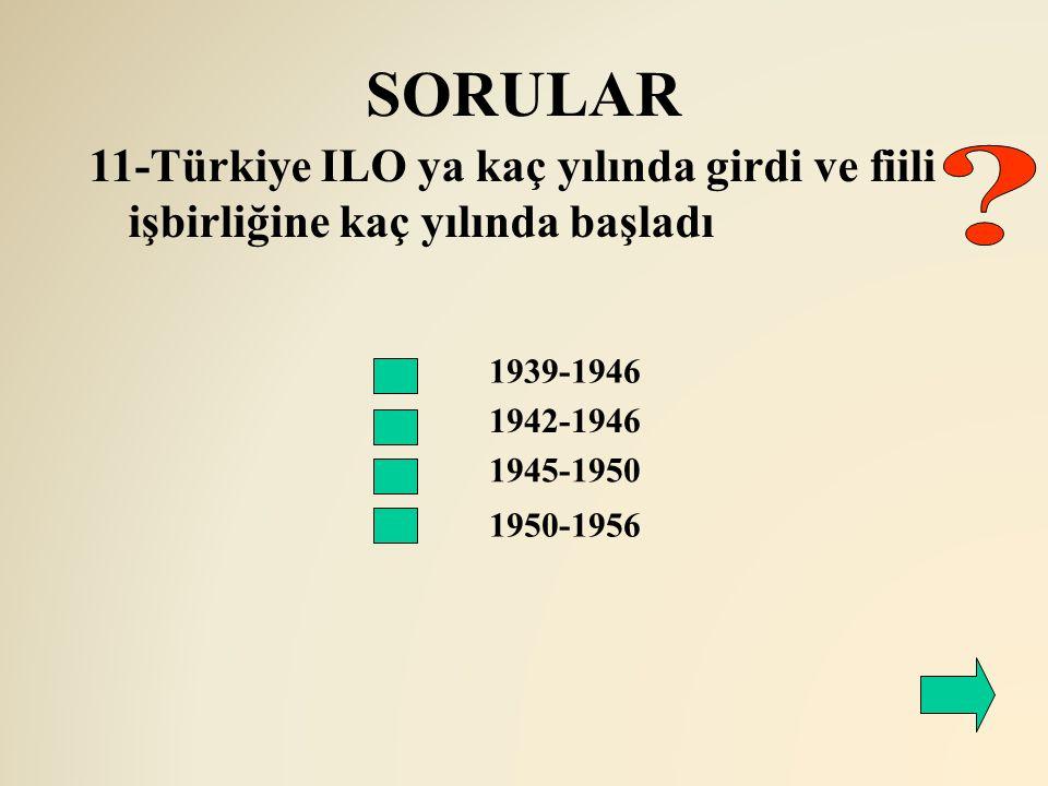 SORULAR 11-Türkiye ILO ya kaç yılında girdi ve fiili işbirliğine kaç yılında başladı. 1939-1946.