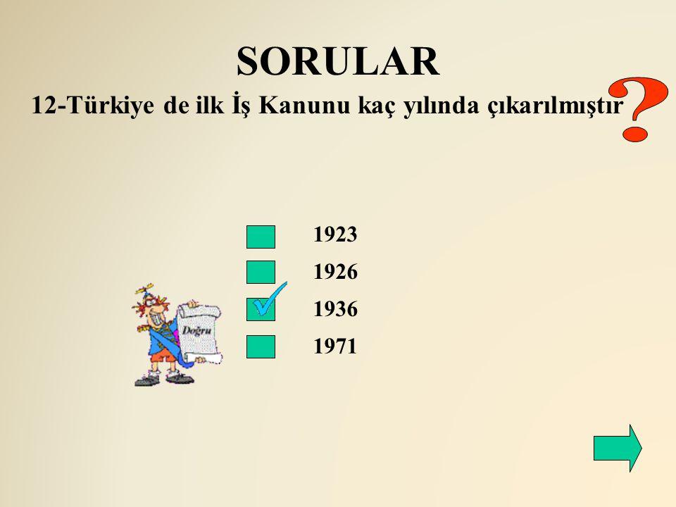 SORULAR 12-Türkiye de ilk İş Kanunu kaç yılında çıkarılmıştır 1923