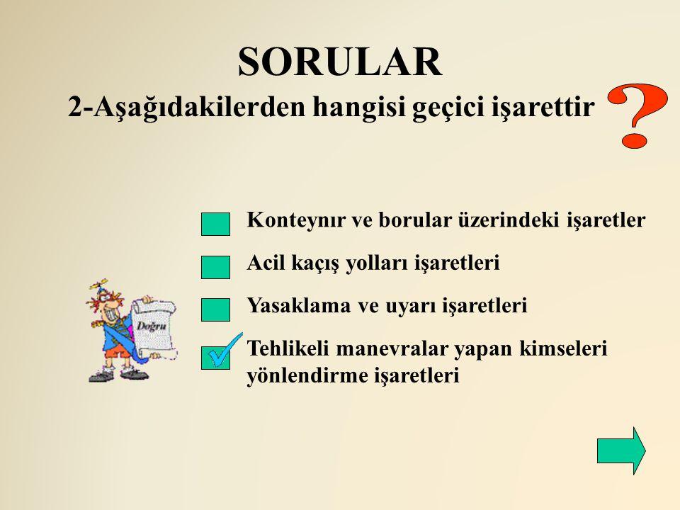 SORULAR 2-Aşağıdakilerden hangisi geçici işarettir