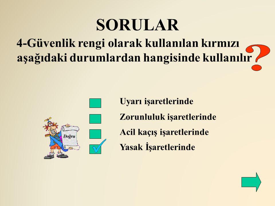 SORULAR 4-Güvenlik rengi olarak kullanılan kırmızı aşağıdaki durumlardan hangisinde kullanılır. Uyarı işaretlerinde.