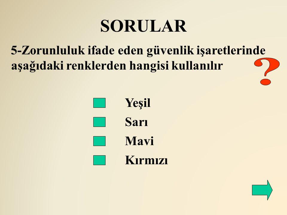 SORULAR 5-Zorunluluk ifade eden güvenlik işaretlerinde aşağıdaki renklerden hangisi kullanılır. Yeşil.