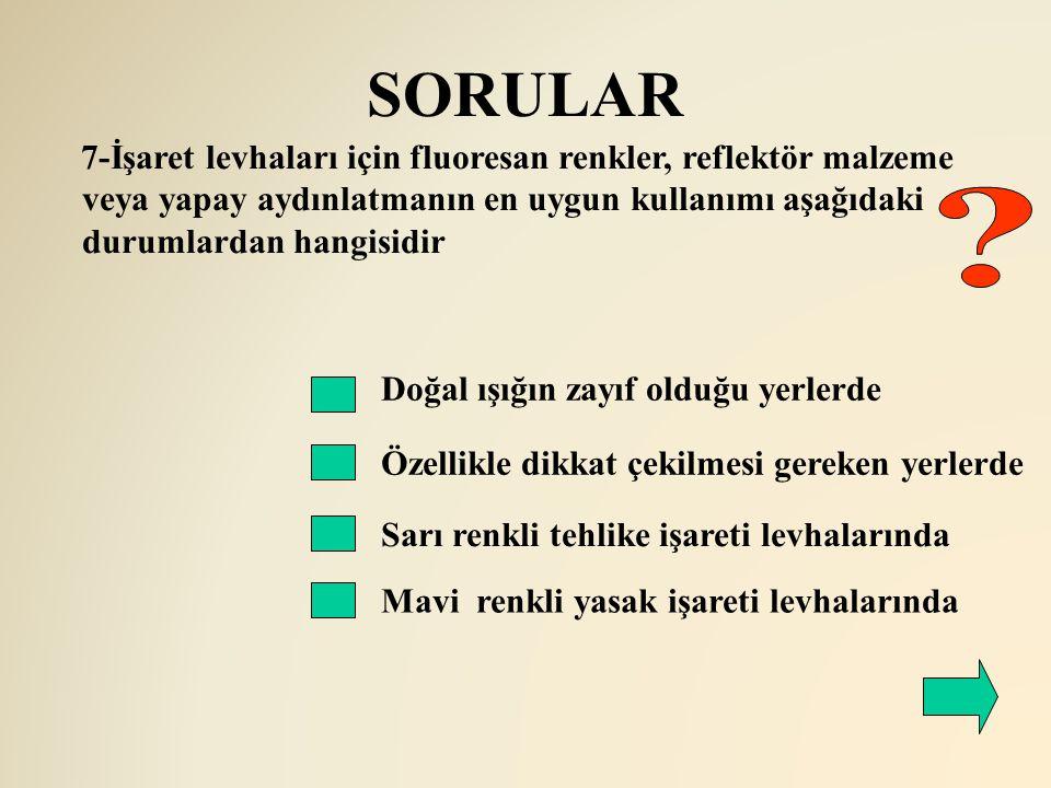 SORULAR 7-İşaret levhaları için fluoresan renkler, reflektör malzeme veya yapay aydınlatmanın en uygun kullanımı aşağıdaki durumlardan hangisidir.